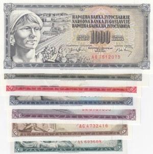 Yugoslavia, 5 Dinara, 10 Dinara, 20 Dinara, 50 Dinara, 100 Dinara, 500 Dinara and 1000 Dinara, 1968 / 1981, UNC, p81… p92, (Total 7 banknotes