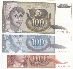 Yugoslavİa, 100 Dinara (2), ve 10.000 Dinara, 1991/1992, UNC, p108/p112/p118, (Tota 3 banknotes)