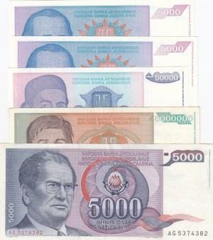 Yugoslavia, 5000 Dinara (3), 50.000 Dinara and 5.000.000 Dinara, 1985 / 1994, XF / UNC, (Total 5 banknotes)
