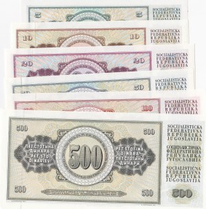 Yugoslavia, 5 Dinara, 10 Dinara, 20 Dinara, 50 Dinara and 100 Dinara, 1968/1981, UNC, (Total 6 banknotes)