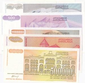 Yugoslavia, 10 Dinara, 100 Dinara, 500 Dinara, 10.000  Dinara, 50.000 Dinara and 500.000 Dinara, 1992/1994, UNC, (Total 6 banknotes)