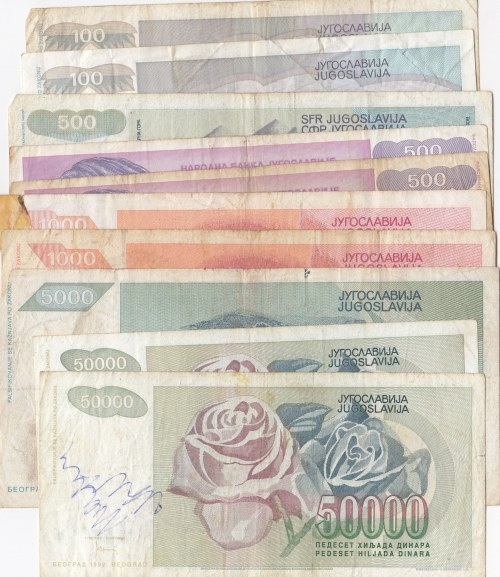 Yugoslavia, total 11  banknotes in different conditions