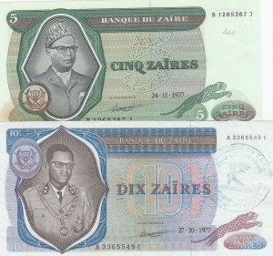 Zaire, 5 Zaires and 10 Zaires, 1977, AUNC, p21b/ p23b, (Total 2 Banknotes)
