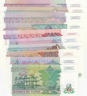 Zaire, 50 Zaires, 100 Zaires, 500 Zaires, 5000 Zaires, 10.000 Zaires, 20.000 Zaires, 50.000 Zaires, 100.000 Zaires, 200.000 Zaires, 500.000 Zaires and 1.000.000 Zaires, 1988 /1992, UNC, (Total 11 banknotes)