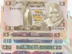 Zambia, 2 Kwacha, 5 Kwacha, 10 Kwacha, 20 Kwacha and 50 Kwacha, 1980/1986, UNC, p24…p28, (Total 5 banknotes)