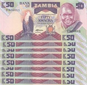 Zambia, 50 Kwacha, 1986, UNC p28a, (Total 8 Banknotes)