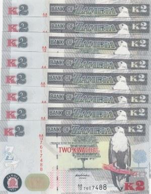 Zambia, 2 Kwacha, 2012, UNC, p49a, (Total 8 Consecutive Banknotes)