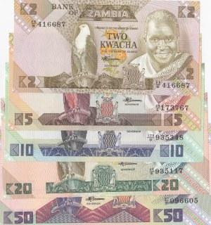 Zambia, 5 Pieces UNC Banknotes
