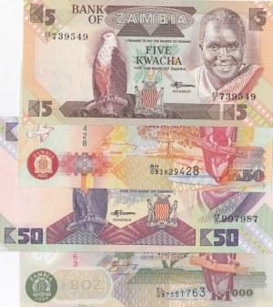 Zambia, 4 Pieces UNC Banknotes