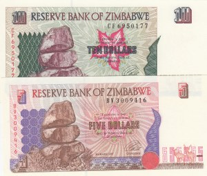 Zimbabve, 5 Dollars and 10 Dollars, 1997, UNC, p5b/ p6a, (Total 2 Banknotes)