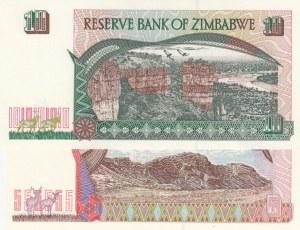 Zimbabve, 5 Dollars and 10 Dollars, 1997, UNC, p5b/ p6a, (Total 2 Banknotes)