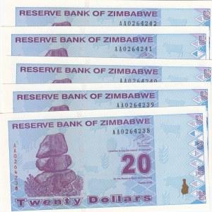 Zimbabwe, 20 Dollars, 2009, UNC, p95, ( Total 5 Consecutive Banknotes)