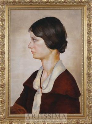 Malarz szkoły wileńskiej, l. 30. XX w., Portret młodej kobiety