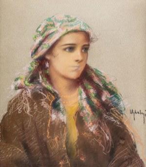 Józef Ujheli (1895-?), Portret dziewczyny łemkowskiej
