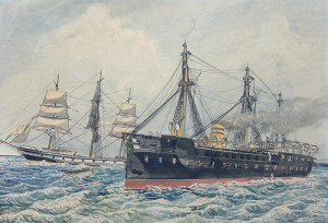 Falcone Matteo (XIX/XX w.), Scena batalistyczna na morzu, 1870 r.