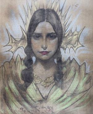 Stanisław Ignacy Witkiewicz (1885 Warszawa - 1939 Jeziory na Polesiu), Portret kobiety z warkoczami, 1931 r.