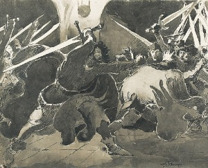 """Włodzimierz TETMAJER (1862-1923), Potyczka - ilustracja do książki Kazimierza Przerwy Tetmajera """"Anioł Śmierci"""""""