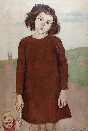 Wlastimil HOFMAN (1881-1970), Dziewczynka z lalką, 1922