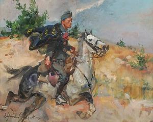 Wojciech KOSSAK (1856-1942), Ułan na galopującym koniu, ok. 1925