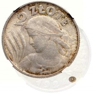 II Rzeczpospolita, 2 złote 1924, Birmingham (Lit H) , Kobieta i kłosy - NGC MS61