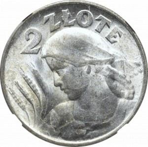 II Rzeczpospolita, 2 złote 1924, Filadelfia(odwrotka), Kobieta i kłosy - NGC MS64