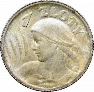 II Rzeczpospolita, 1 złoty 1924, Paryż (róg i pochodnia), Kobieta i kłosy