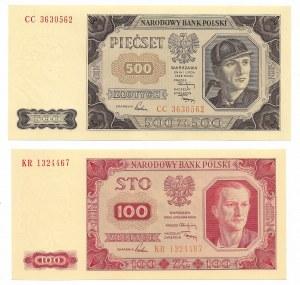 PRL, zestaw banknotów 100 złotych 1948 KR i 500 złotych 1948 CC
