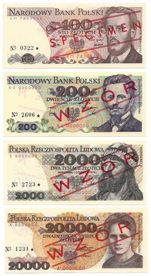 PRL, Zbiór wzorów od 100 do 20.000 złotych - wyśmienite