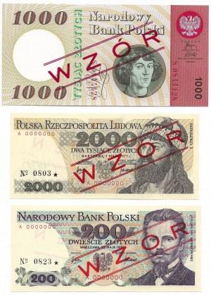 PRL, zestaw trzech wzorów 200, 1000, 2000 złotych