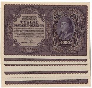 II RP, 1000 marek polskich 1919 I SERJA CD - 8 sztuk kolejne numery