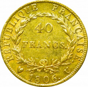 Francja, Napoleon I Bonaparte, 40 franków 1806 U, Turyn