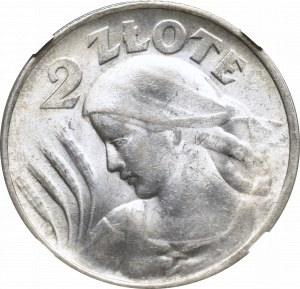 II Rzeczpospolita, 2 złote 1924, Filadelfia(odwrotka), Kobieta i kłosy - NGC MS62