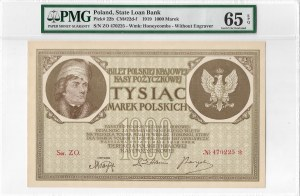 II RP, 1000 marek polskich 1919 Ser. ZO - PMG 65EPQ
