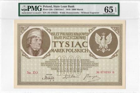 II RP, 1000 marek polskich 1919 ZO - PMG 65EPQ