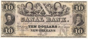 USA, 10 dolarów 1840/1850 Canal Bank, New Orleans