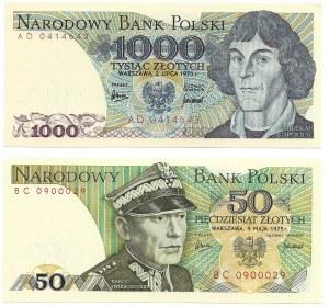 PRL, Zestaw 50 złotych 1975 BC i 1000 złotych 1975 AD
