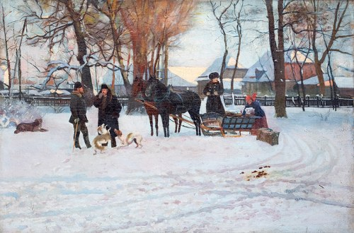 Władysław Podkowiński (1866 Warszawa - 1895 tamże), Wyjazd (Wyjazd na polowanie, Kompozycja z saniami), 1888 r.