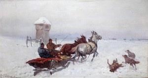 Adam Setkowicz (1875 Kraków - 1945 tamże), Zaprzęg zimą