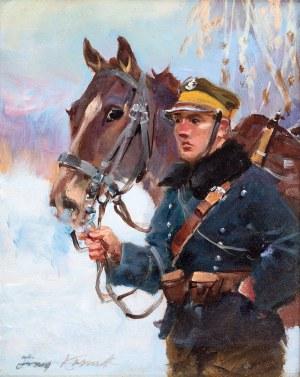 Jerzy Kossak (1886 Kraków - 1955 tamże), Ułan z koniem