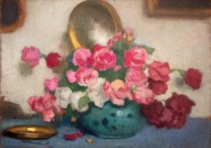Alfons Karpiński (1875 Rozwadów - 1961 Kraków), Bukiet róż we wnętrzu
