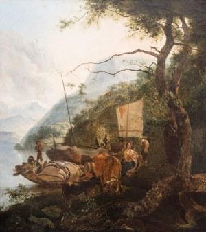Malarz nieokreślony (XVIII/XIX w.), Pejzaż z łodziami przy brzegu