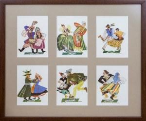 Zestaw 6 pocztówek we wspólnej oprawie, wg. teki Tańce Polskie Zofii Stryjeńskiej