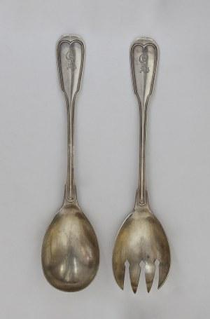 Łyżka i widelec środek stołu (do sałat)