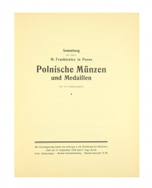 Leo Hamburger, Felix Schlessinger, katalog aukcyjny, Sammlung des Herrn M. Frankiewicz in Posen, Polnische Munzen und Medaillen, Berlin, 15 września 1930