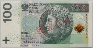 III RP, 100 złotych 5.01.2012, Seria AA 0000000