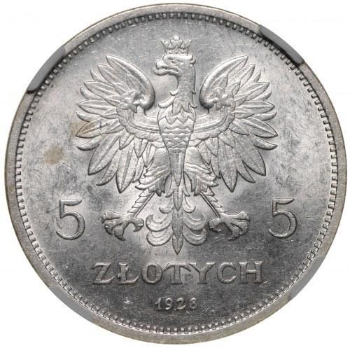 II Rzeczpospolita 5 złotych 1928 Nike Warszawa NGC MS61