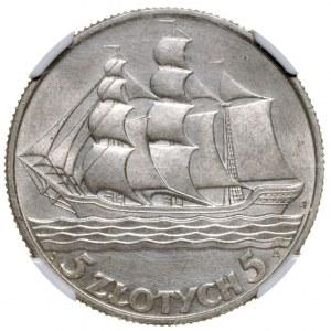 II Rzeczpospolita 5 złotych 1936 Żaglowiec NGC UNC Details