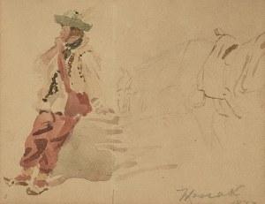 Wojciech KOSSAK (1856-1942), Studium górala i konia, 1877
