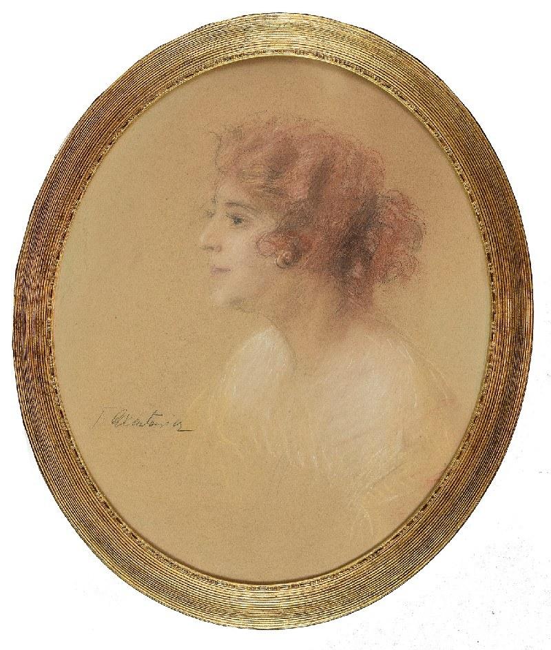 Teodor AXENTOWICZ (1859-1938), Portret kobiety z profilu, ok. 1925