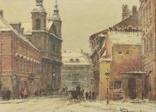 Władysław CHMIELIŃSKI (1911-1979), Widok na kościół Paulinów na Nowym Mieście w Warszawie